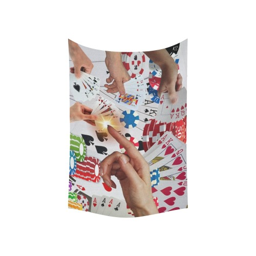 """POKER NIGHT TOO Cotton Linen Wall Tapestry 60""""x 40"""""""