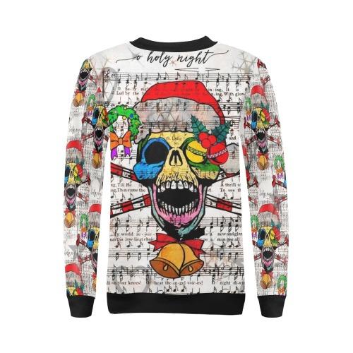 Christmas Skull by Nico Bielow All Over Print Crewneck Sweatshirt for Women (Model H18)