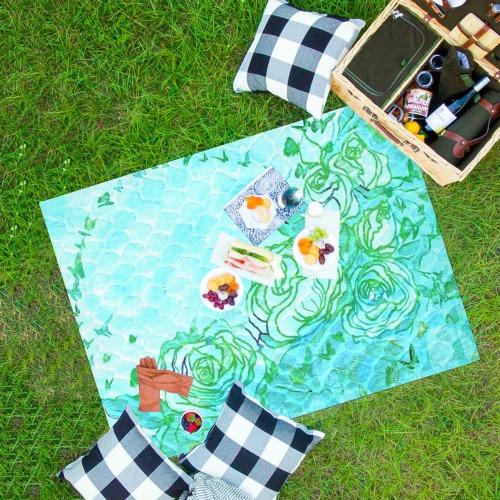 "flowers 1 Waterproof Picnic Mat 69""x55"""
