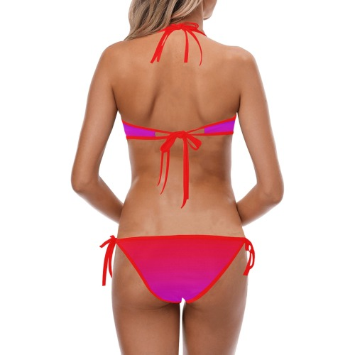 pink and blue Custom Halter & Side Tie Bikini Swimsuit (Model S06)