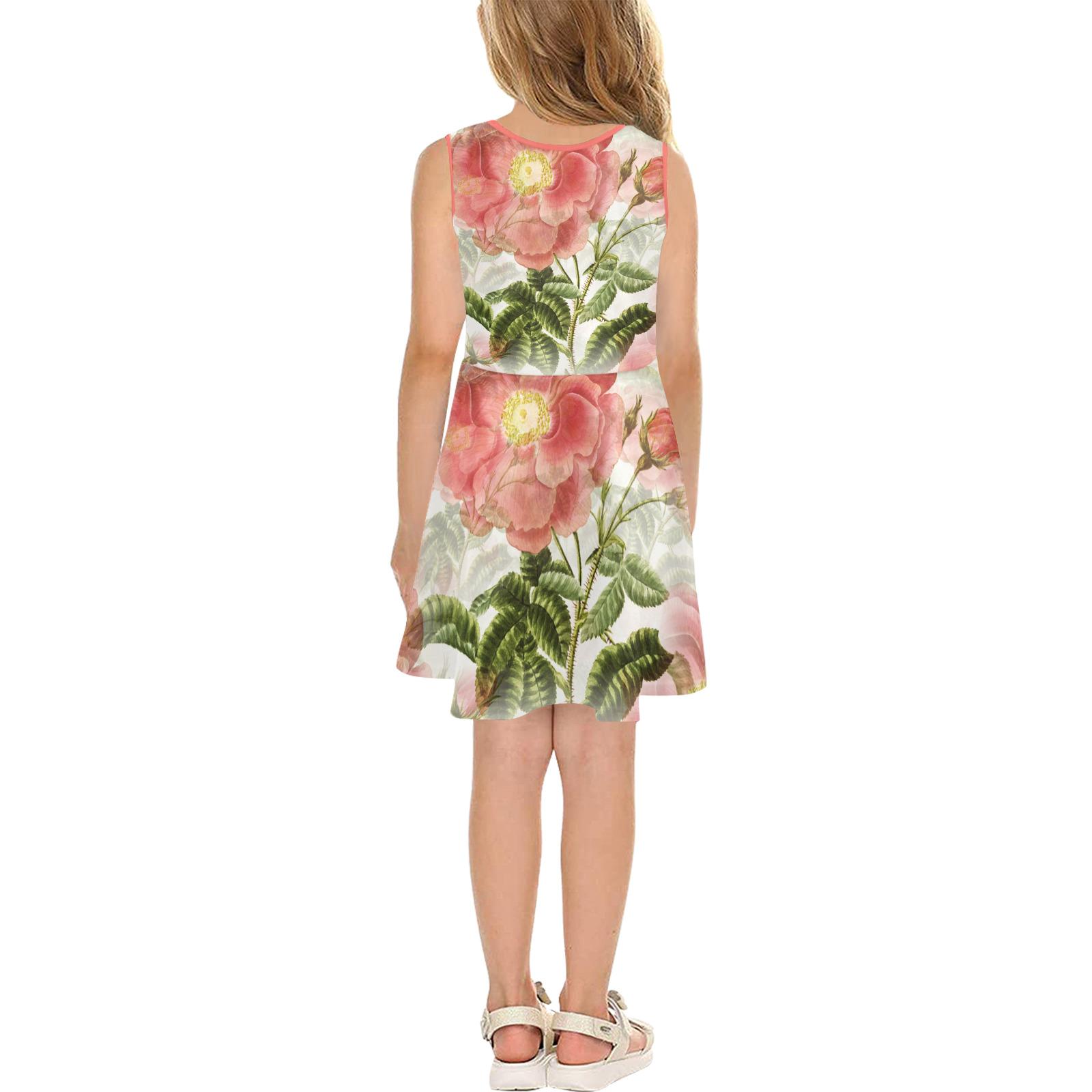 Vintage Red Rose Garden Pattern Girls' Sleeveless Sundress (Model D56)
