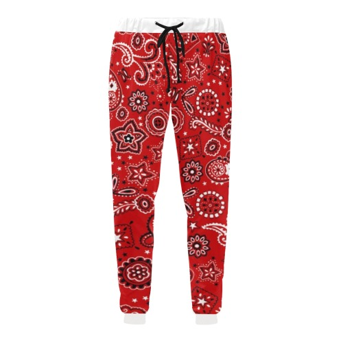 Red Gang Pants on White Men's All Over Print Sweatpants (Model L11)