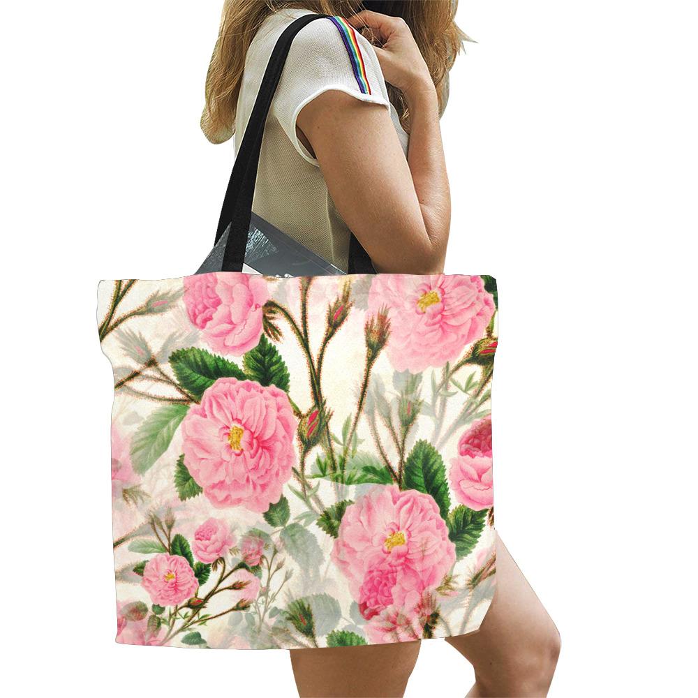 Vintage Pink Rose Garden Blossom All Over Print Canvas Tote Bag/Large (Model 1699)