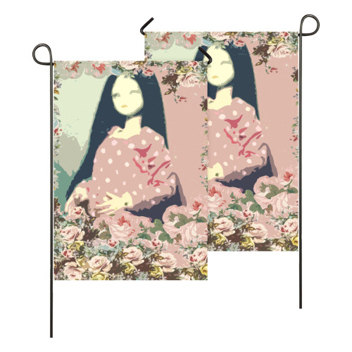 rose floral doll Garden Flag 28''x40'' (Two Sides Printing)