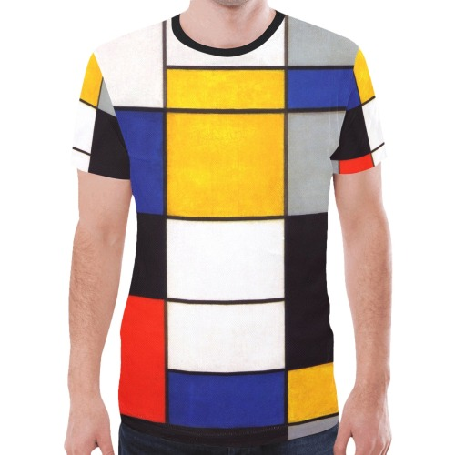 Composition A by Piet Mondrian New All Over Print T-shirt for Men (Model T45)