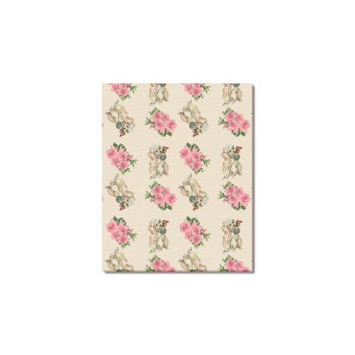 "retro dog floral pattern ecru Frame Canvas Print 8""x10"""