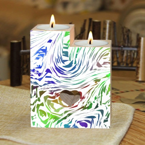 Cutout Shapes on White Abstract Wooden Candle Holder (Without Candle)