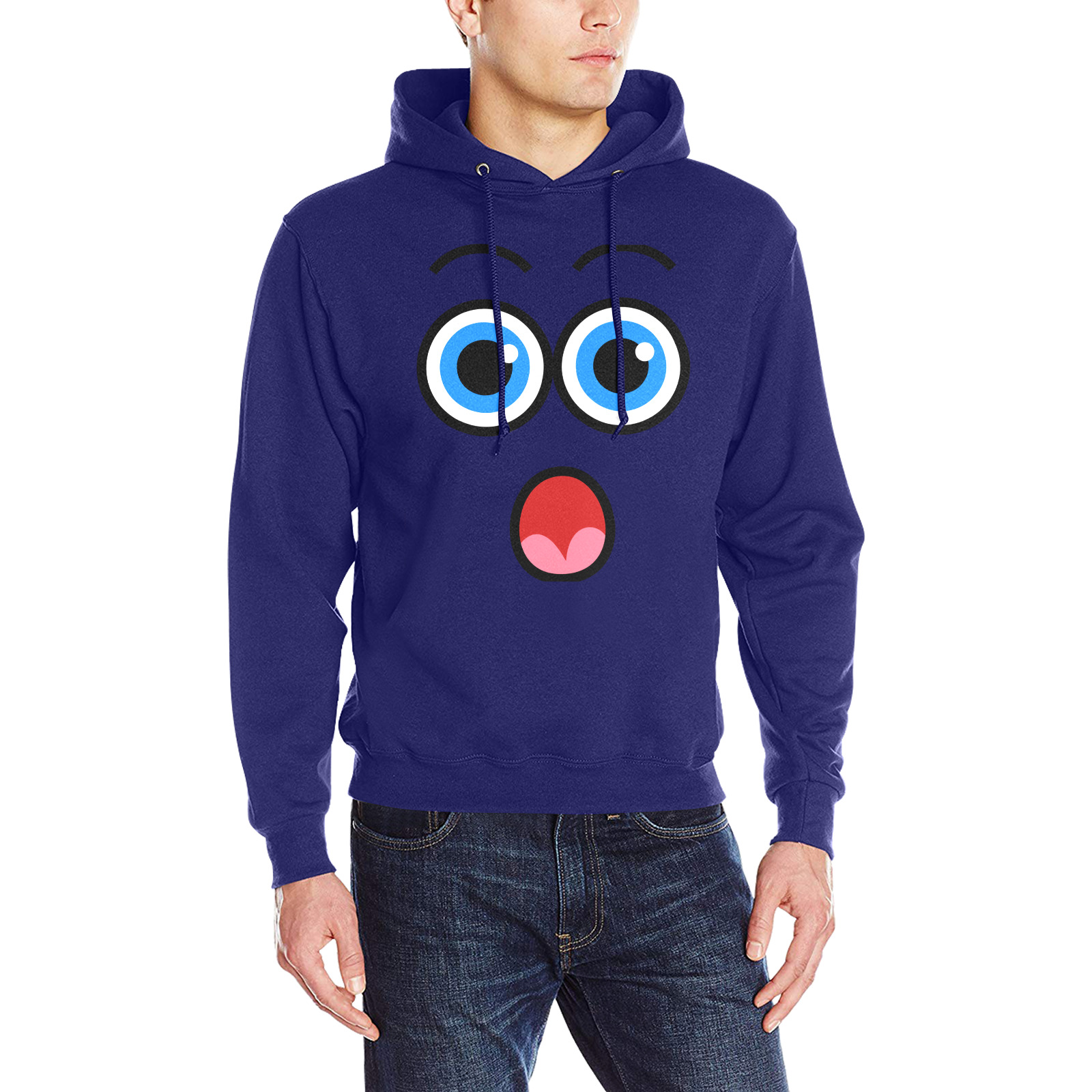Funny Comic Cartoon Expressive Shocked Face Men's Classic Hoodie (Model H17)
