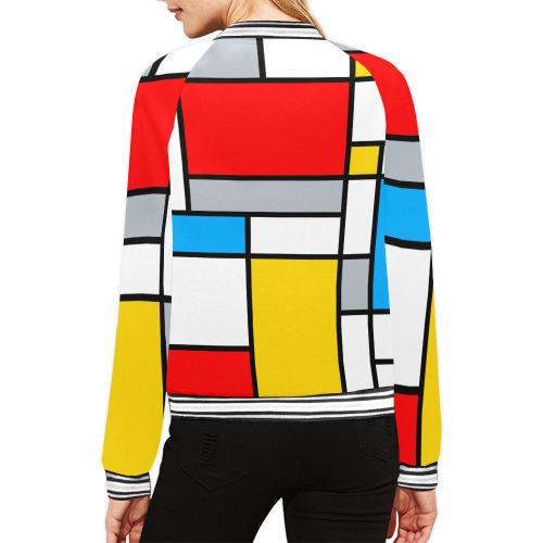 Mondrian Style Color Composition Geometric Retro Art All Over Print Bomber Jacket for Women (Model H21)