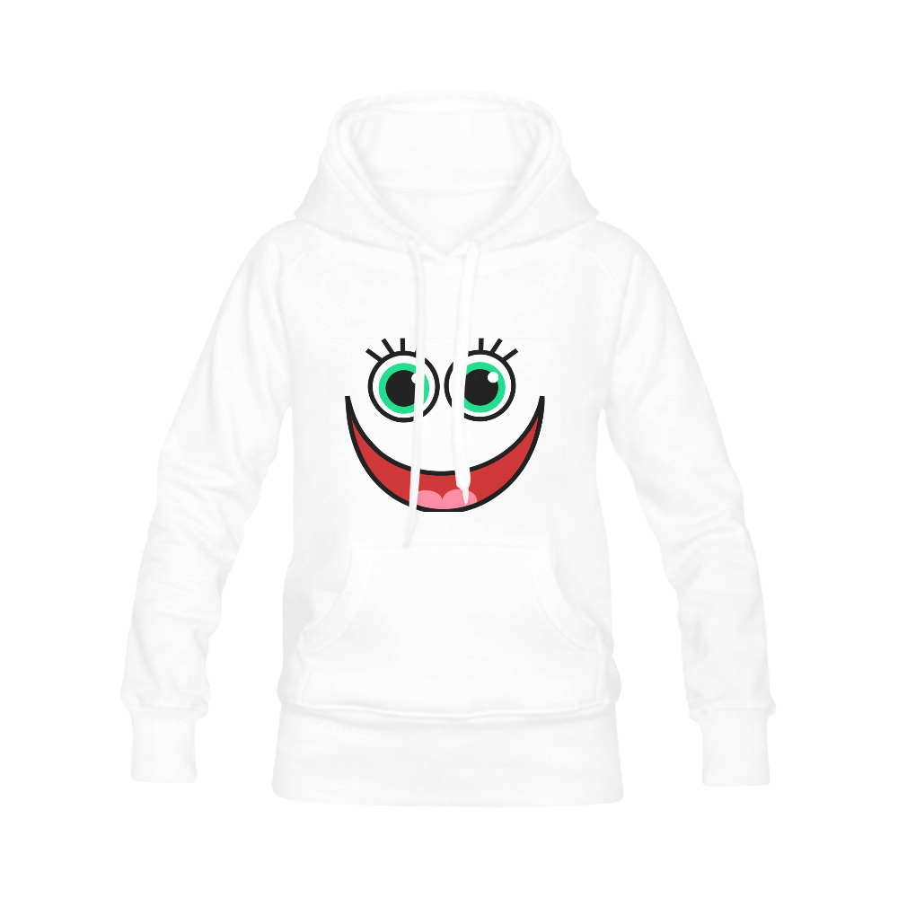 Don't Worry Be Happy Cartoon Face Women's Classic Hoodies (Model H07)