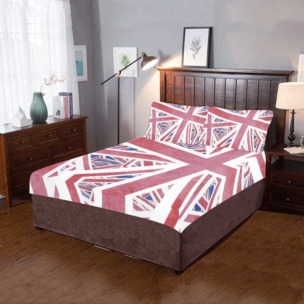 Abstract Union Jack British Flag Collage 3-Piece Bedding Set