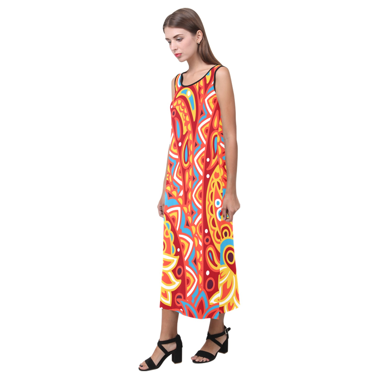 vestido largo diseño hindu Phaedra Sleeveless Open Fork Long Dress (Model D08)