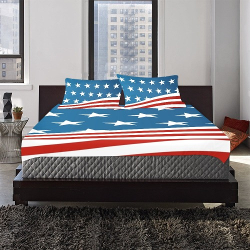 Red White and Blue Patriotic 3-Piece Bedding Set