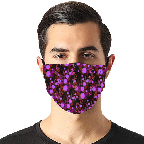 purple red  roses Flat Mouth Mask with Drawstring (Model M07)