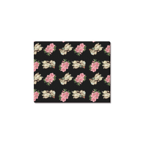 "retro dog floral pattern Frame Canvas Print 8""x10"""