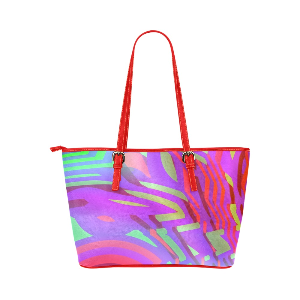 Colorful Tribal Pattern Leather Tote Bag/Small (Model 1651)