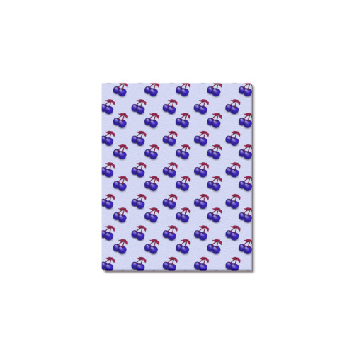 "retro blue cherries Frame Canvas Print 8""x10"""