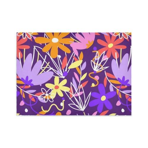 Bold Bright Purple Floral Area Rug7'x5'