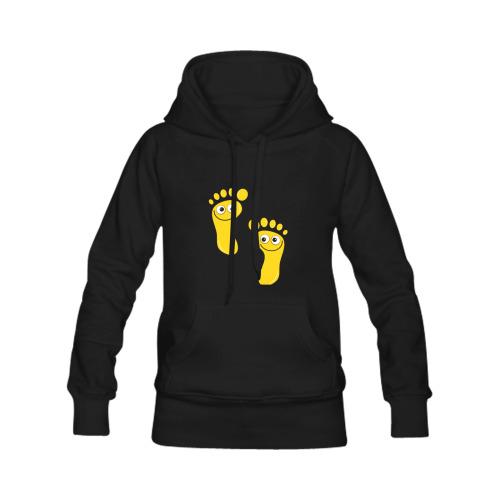 Happy Cartoon Yellow Human Foot Prints Men's Classic Hoodie (Remake) (Model H10)