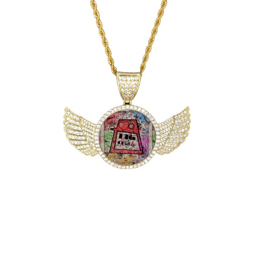 Big Chicken Paper by Nico Bielow Wings Gold Photo Pendant with Rope Chain