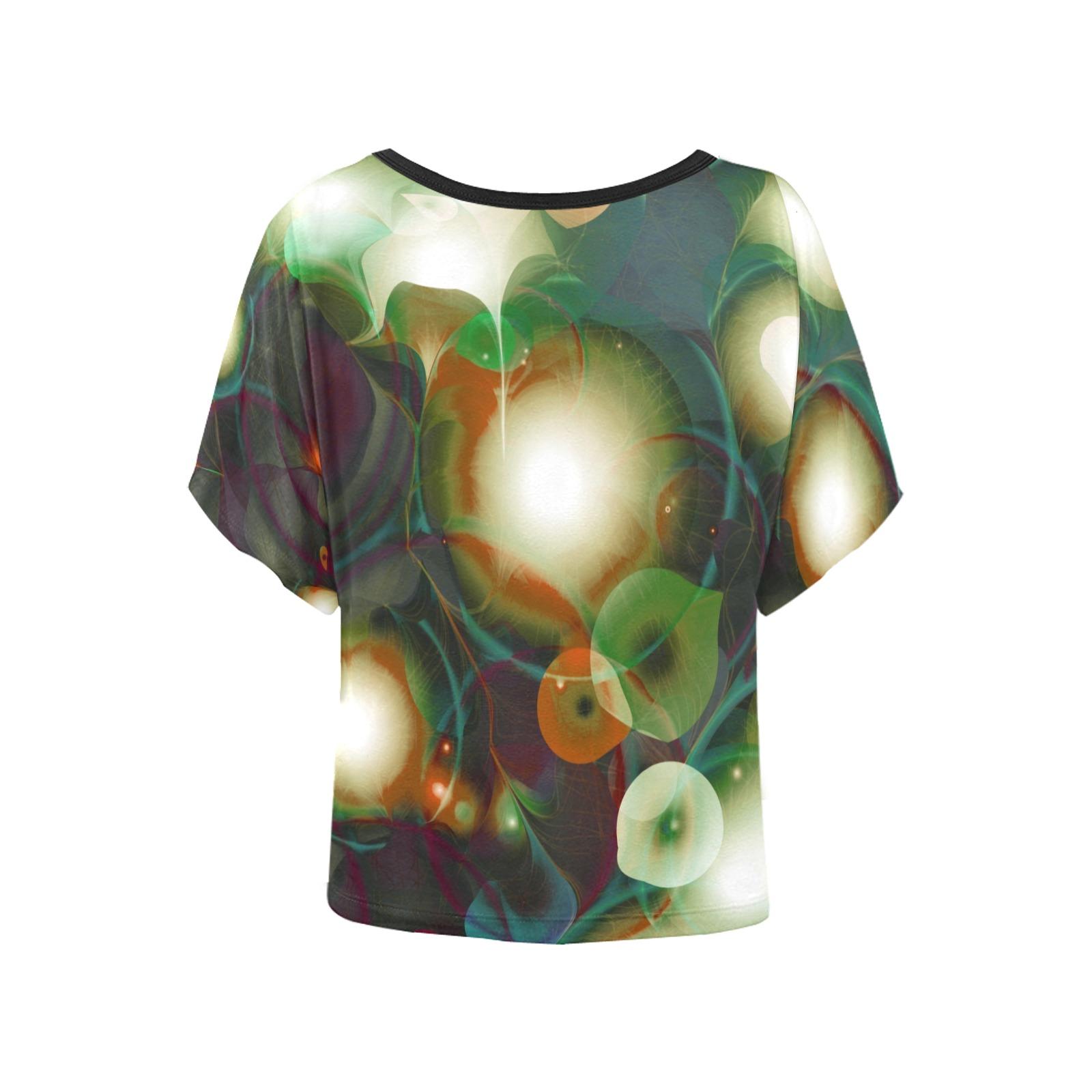 melting bubbles8 Women's Batwing-Sleeved Blouse T shirt (Model T44)
