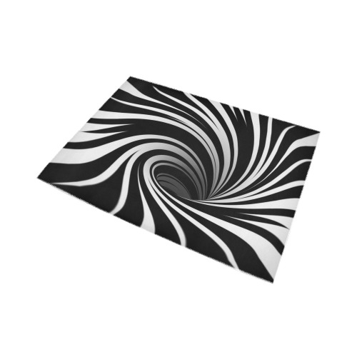 Op Art Optical Illusion Abstract Flower (Black White) Area Rug7'x5'