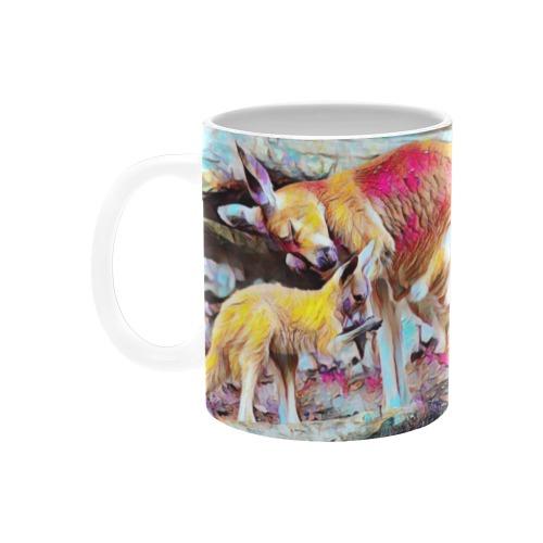 Kangaroo and Joey Custom White Mug (11OZ)
