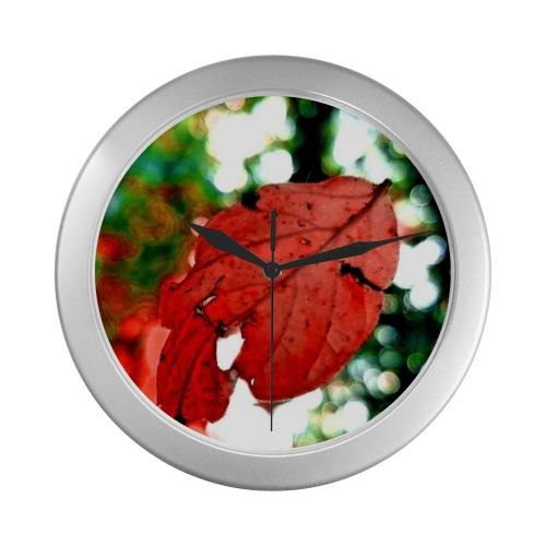Leaf Clock Silver Color Wall Clock