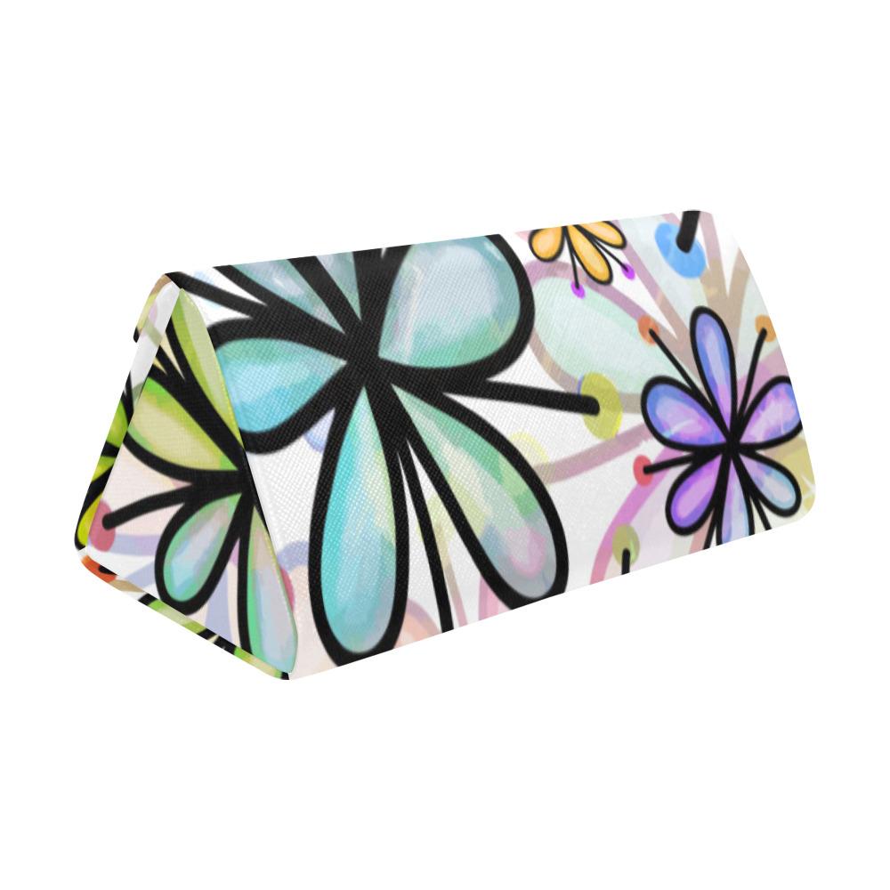 Watercolor Rainbow Doodle Daisy Flower Pattern Custom Foldable Glasses Case