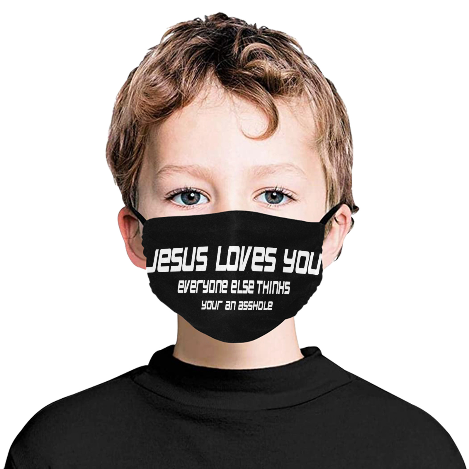 Jesus loves you 1 Flat Mouth Mask with Drawstring