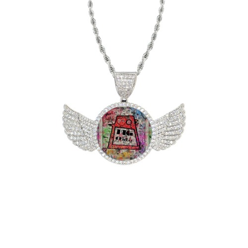Big Chicken Paper by Nico Bielow Wings Silver Photo Pendant with Rope Chain