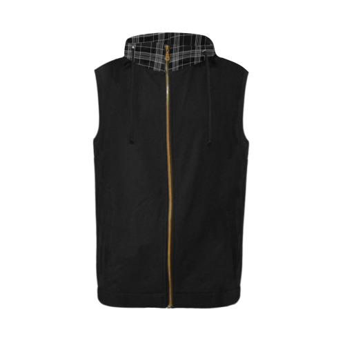 Tartan All Over Print Sleeveless Zip Up Hoodie for Men (Model H16)