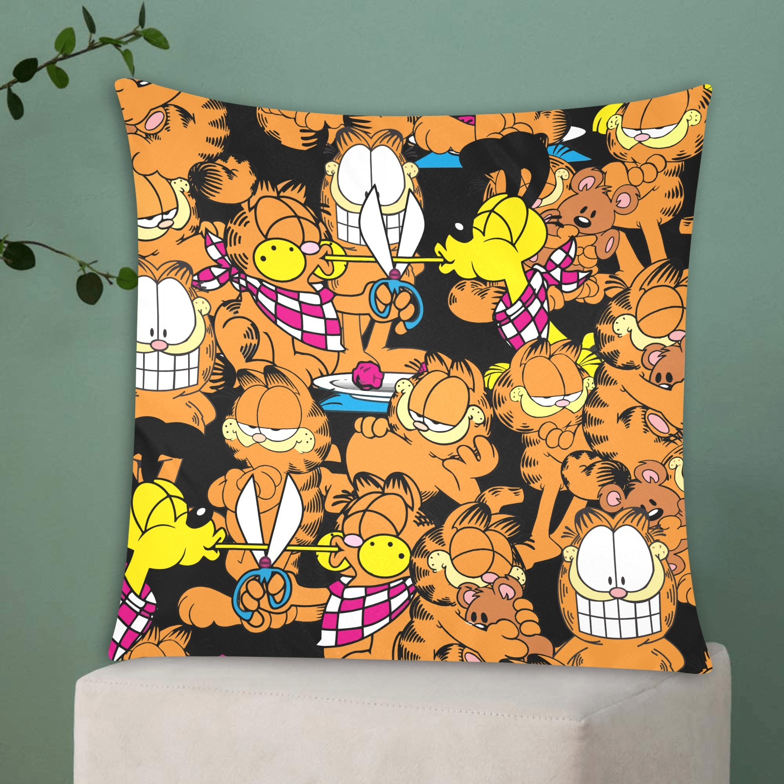 """Garfield 2 Custom Zippered Pillow Cases 20""""x20"""" (Two Sides)"""