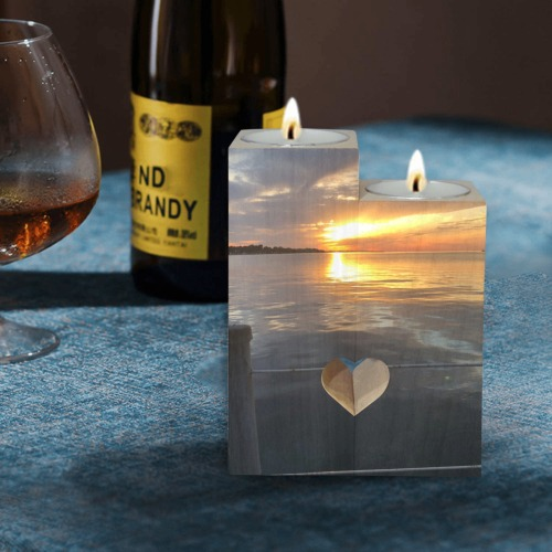 Pier Sunset Collection Wooden Candle Holder (Without Candle)