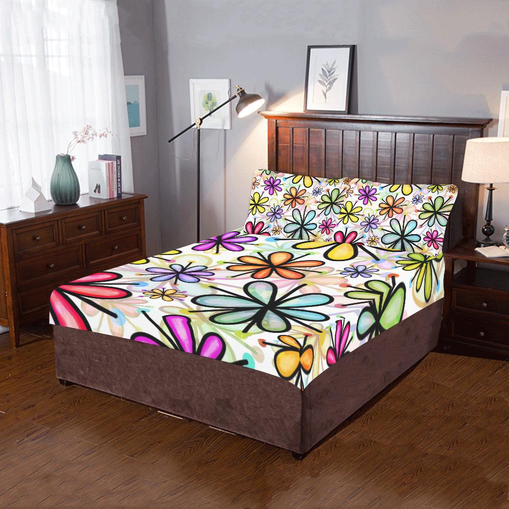 Watercolor Rainbow Doodle Daisy Flower Pattern 3-Piece Bedding Set