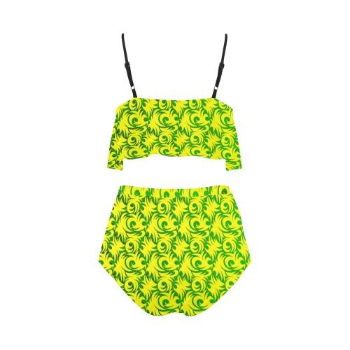 green swirl ylw High Waisted Ruffle Bikini Set (Model S13)