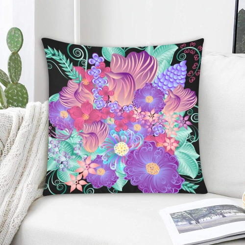 """FLOWERS Custom Zippered Pillow Cases 20""""x20"""" (Two Sides)"""