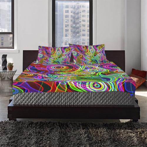 Abstract Retro Neon Pattern Background Design 3-Piece Bedding Set