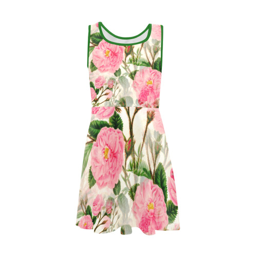 Vintage Pink Rose Garden Blossom Girls' Sleeveless Sundress (Model D56)