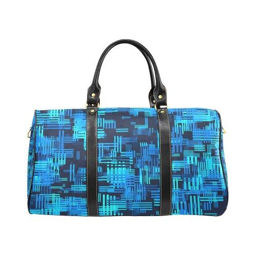 Crosshatch (Blue/Black) New Waterproof Travel Bag/Large (Model 1639)