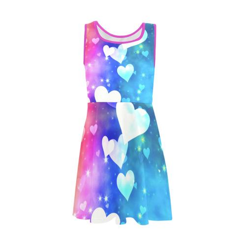 Dreamy Love Heart Sky Background Girls' Sleeveless Sundress (Model D56)