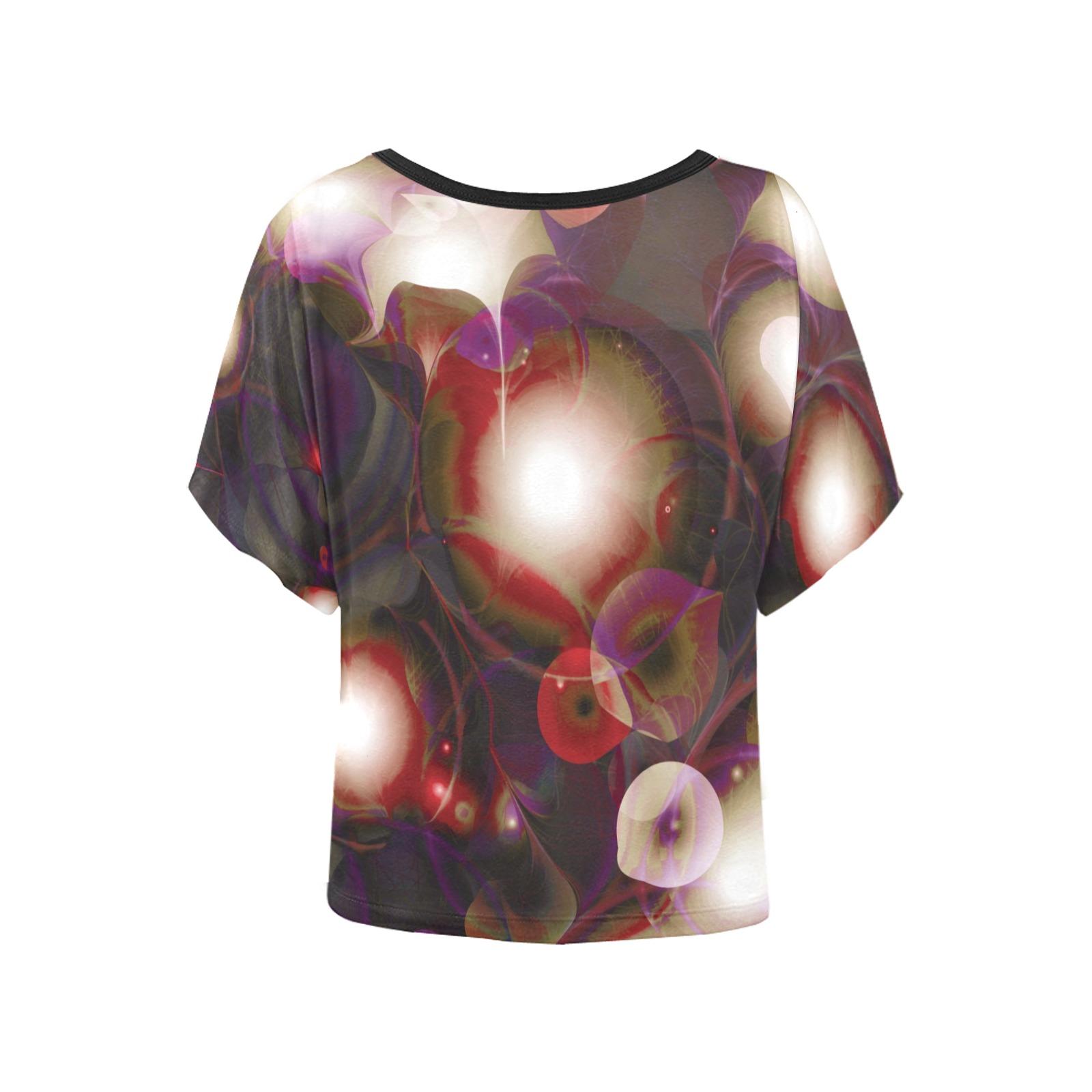 melting bubbles7 Women's Batwing-Sleeved Blouse T shirt (Model T44)