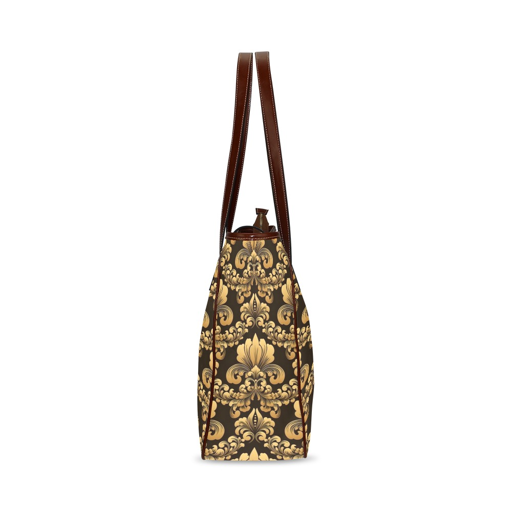 Elegant Golden Damask Classic Tote Bag (Model 1644)