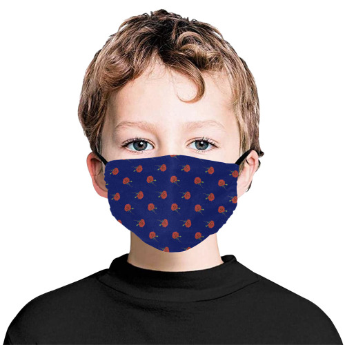 red rose blue Flat Mouth Mask with Drawstring (Model M07)