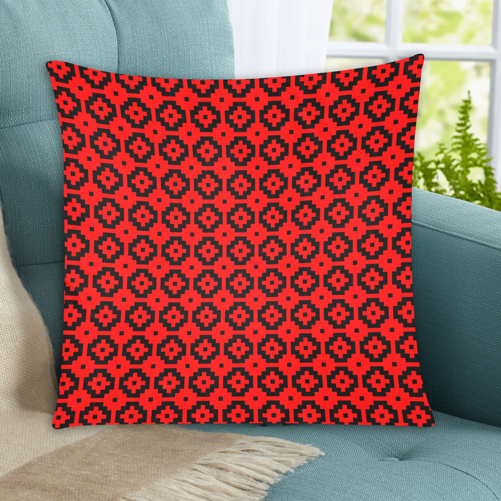 """Red and Black Custom Zippered Pillow Cases 20""""x20"""" (Two Sides)"""