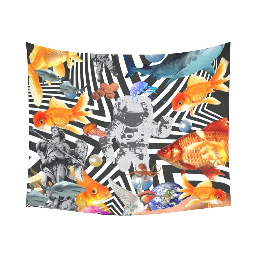 """POINT OF ENTRY 2 Cotton Linen Wall Tapestry 60""""x 51"""""""