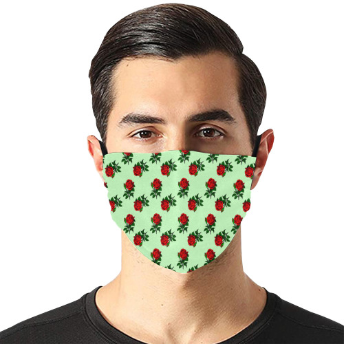 red roses green Flat Mouth Mask with Drawstring (Model M07)