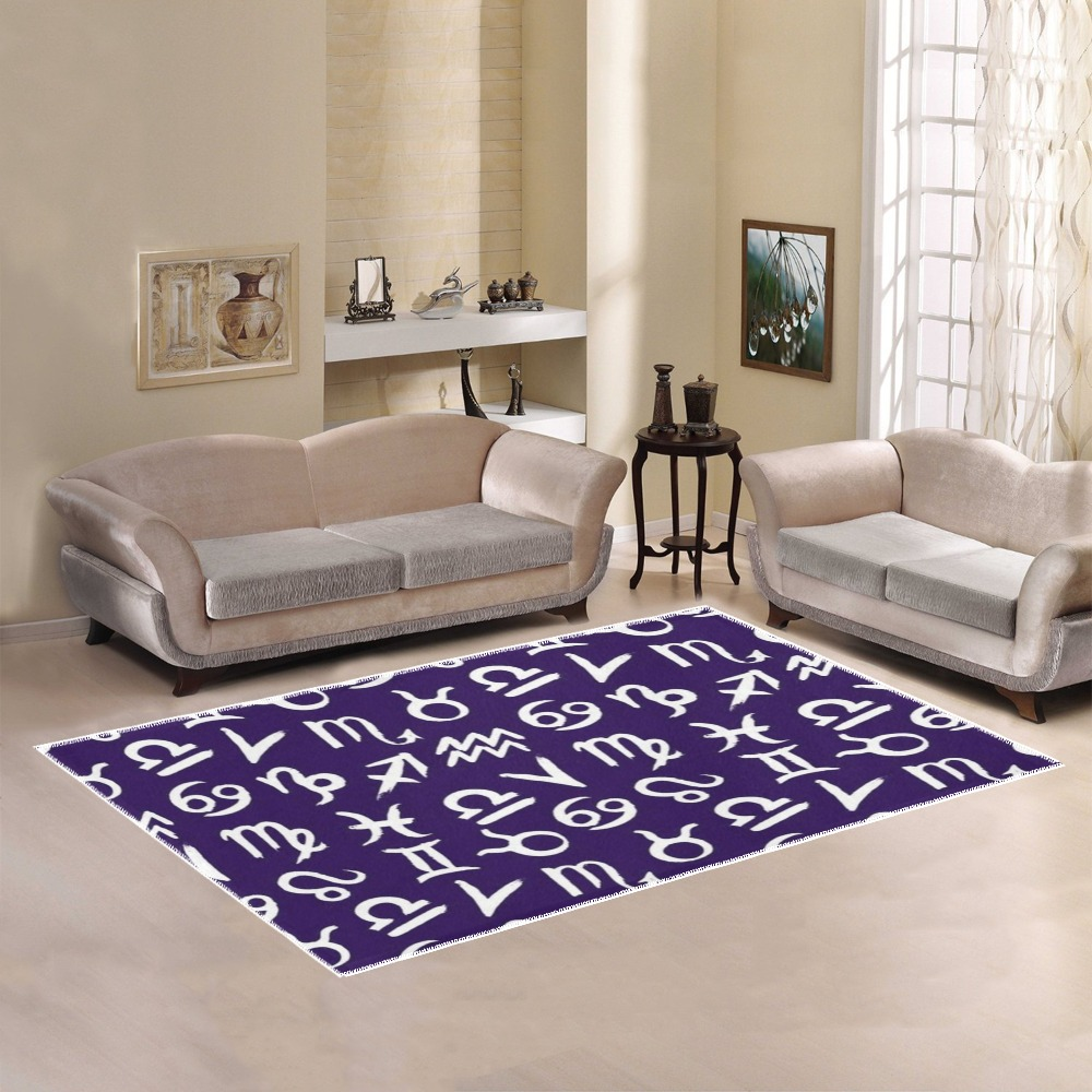 Astrology - Black and White Area Rug7'x5'