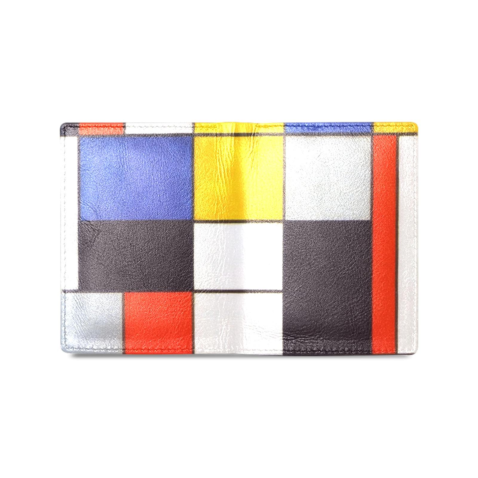 Composition A by Piet Mondrian Men's Leather Wallet (Model 1612)