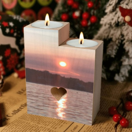 Glazed Sunset Collection Wooden Candle Holder (Without Candle)